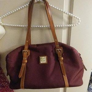 Dooney & Bourke Bordeaux/Tan Nylon Bag